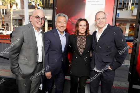"""Jeff Goldstein, President, Domestic Distribution, Warner Bros. Pictures, Kevin Tsujihara, Chairman and Chief Executive Officer, Warner Bros., Director/Producer Denise Di Novi and Toby Emmerich, President and Chief Content Officer, Warner Bros. Pictures Group, seen at Los Angeles World Premiere of Warner Bros. Pictures' """"Unforgettable"""" at TCL Chinese Theatre, in Los Angeles"""