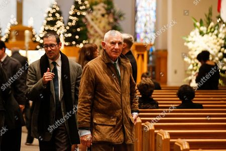 """Prince Frederic Von Anhalt, right, attends Zsa Zsa Gabor's """"Celebration of Life"""" memorial service at the Good Shepherd Church, in Beverly Hills, Calif. Zsa Zsa Gabor died at the age of 99 on Dec. 18, 2016"""