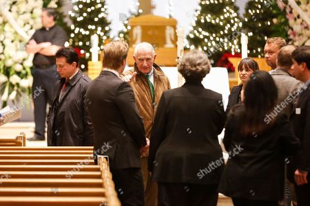 """Prince Frederic Von Anhalt, center, attends Zsa Zsa Gabor's """"Celebration of Life"""" memorial service at the Good Shepherd Church, in Beverly Hills, Calif. Zsa Zsa Gabor died at the age of 99 on Dec. 18, 2016"""