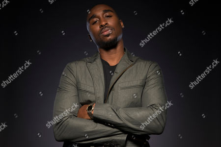 "Demetrius Shipp Jr. poses for a portrait at the ""All Eyez on Me"" junket at the Four Seasons Hotel in Beverly Hills, Calif. Shipp portrays the late rapper Tupac Shakur, who was killed in 1996"