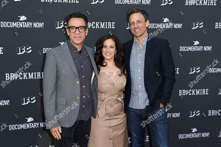 """Fred Armisen, from left, Jennifer Caserta, president and general manager, IFC, and Seth Meyers arrive at the """"Brockmire"""" and """"Documentary Now!"""" For Your Consideration event at the Television Academy's Saban Media Center, in Los Angeles"""