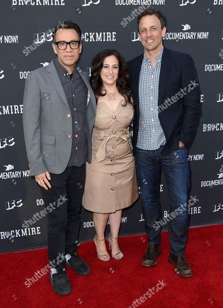 """Stock Image of Fred Armisen, from left, Jennifer Caserta, president and general manager, IFC, and Seth Meyers arrive at the """"Brockmire"""" and """"Documentary Now!"""" For Your Consideration event at the Television Academy's Saban Media Center, in Los Angeles"""
