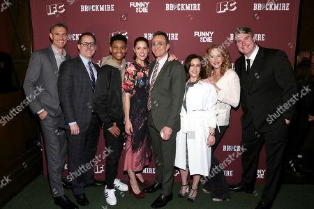 "From left, Mike Farah, Joe Farrell, Tyrel Jackson Williams, Amanda Peet, Hank Azaria, Jennifer Caserta, Katie Finneran, Joel Church-Cooper pose at the ""Brockmire"" Premiere Event at The 40/40 Club on in New York City"