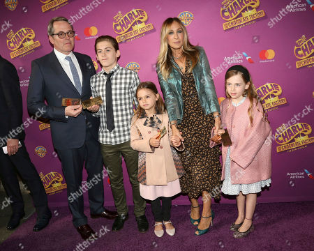 """Matthew Broderick, from left, James Wilkie Broderick, Tabitha Broderick, Sarah Jessica Parker and Marion Broderick attend Roald Dahl's """"Charlie and the Chocolate Factory"""" Broadway opening night at the Lunt-Fontanne Theater on Sunday April, 23, 2017, in New York"""