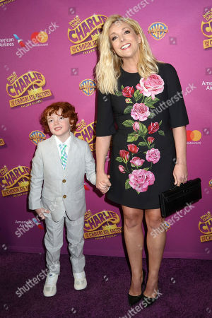 """Stock Image of Jane Krakowski and Bennett Robert Godley attend Roald Dahl's """"Charlie and the Chocolate Factory"""" Broadway opening night at the Lunt-Fontanne Theater on Sunday April, 23, 2017, in New York"""