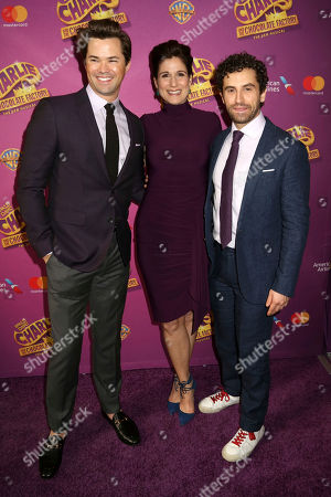 """Andrew Rannells, from left, Stephanie J. Block and Jarrod Spector attend Roald Dahl's """"Charlie and the Chocolate Factory"""" Broadway opening night at the Lunt-Fontanne Theater on Sunday April, 23, 2017, in New York"""