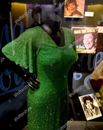 "A dress worn by Ella Fitzgerald is displayed at a sneak preview of ""Ella at 100: Celebrating the Artistry of Ella Fitzgerald"" at The Grammy Museum at L.A. Live, in Los Angeles"