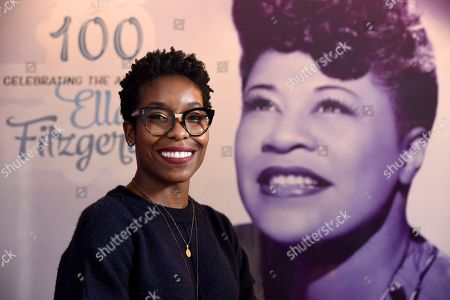 "Nwaka Onwusa, curator of The Grammy Museum at L.A. Live, poses for a portrait at a sneak preview of ""Ella at 100: Celebrating the Artistry of Ella Fitzgerald"" at The Grammy Museum at L.A. Live, in Los Angeles"