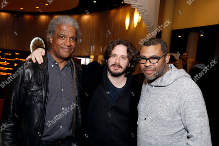 """Elvis Mitchell, Edgar Wright and Director/Writer Jordan Peele seen at """"Get Out"""" Special Screening Q&A at ArcLight Hollywood, in Los Angeles"""