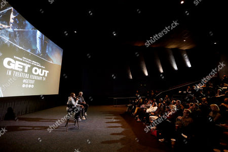 """Director/Writer Jordan Peele and Elvis Mitchell seen at """"Get Out"""" Special Screening Q&A at ArcLight Hollywood, in Los Angeles"""