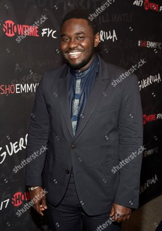 "Babou Ceesay, a cast member in ""Guerrilla,"" poses at a ""For Your Consideration"" event for the Showtime series at the Writers Guild of America, in Beverly Hills, Calif"