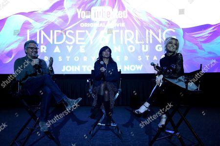 "Dan Cutforth, Jane Lipsitz and Lindsey Stirling attend the ""Lindsey Stirling: Brave Enough"" Premiere Event on in Hollywood, Calif"