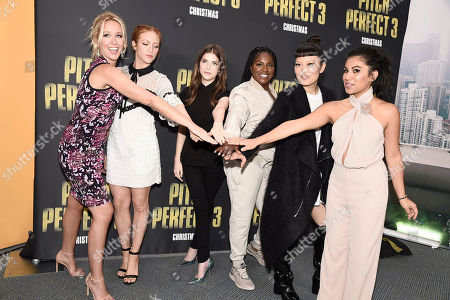 """Anna Camp, Brittany Snow, Anna Kendrick, Ester Dean, Hana Mae Lee and Chrissie Fit seen at """"Pitch Perfect 3"""" at Vidcon at Anaheim Convention Center, in Anaheim, CA"""
