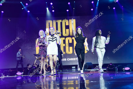 """Hana Mae Lee, Anna Camp, Brittany Snow, Anna Kendrick, Ester Dean and Chrissie Fit seen at """"Pitch Perfect 3"""" at Vidcon at Anaheim Convention Center, in Anaheim, CA"""
