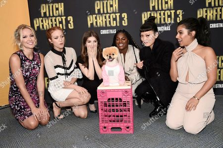"""Anna Camp, Brittany Snow, Anna Kendrick, Boo the Pomeranian, Ester Dean, Hana Mae Lee and Chrissie Fit seen at """"Pitch Perfect 3"""" at Vidcon at Anaheim Convention Center, in Anaheim, CA"""