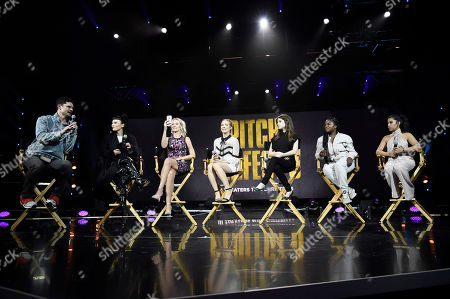 """Flula Borg, Hana Mae Lee, Anna Camp, Brittany Snow, Anna Kendrick, Ester Dean and Chrissie Fit seen at """"Pitch Perfect 3"""" at Vidcon at Anaheim Convention Center, in Anaheim, CA"""