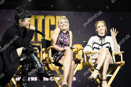 """Hana Mae Lee, Anna Camp and Brittany Snow seen at """"Pitch Perfect 3"""" at Vidcon at Anaheim Convention Center, in Anaheim, CA"""