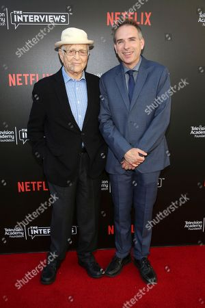 """Executive producer and creator Norman Lear and Michael Schneider seen at """"The Power of TV: A Conversation with Norman Lear and Netflix original series 'One Day at a Time' """" ATAS Panel at the Wolf Theater at Saban Media Center, in Los Angeles"""