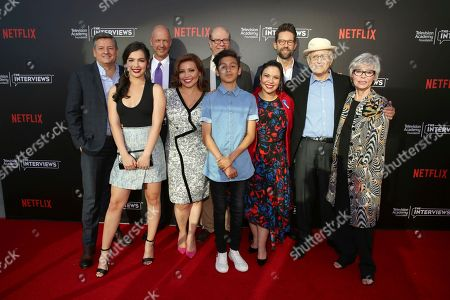 """Netflix Chief Content Officer Ted Sarandos, Isabella Gomez, co-creator and executive producer Mike Royce, Justina Machado, Stephen Tobolowsky, Marcel Ruiz, co-creator and executive producer Gloria Calderon Kellett, Todd Grinnell, creator and executive producer Norman Lear and Rita Moreno seen at """"The Power of TV: A Conversation with Norman Lear and Netflix original series 'One Day at a Time' """" ATAS Panel at the Wolf Theater at Saban Media Center, in Los Angeles"""