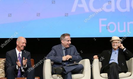 """Co-creator and executive producer Mike Royce, Michael Schneider and executive producer and creator Norman Lear seen at """"The Power of TV: A Conversation with Norman Lear and Netflix original series 'One Day at a Time' """" ATAS Panel at the Wolf Theater at Saban Media Center, in Los Angeles"""