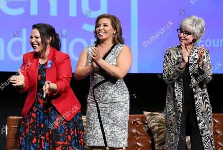 """Co-creator and executive producer Gloria Calderon Kellett, Justina Machado and Rita Moreno seen at """"The Power of TV: A Conversation with Norman Lear and Netflix original series 'One Day at a Time' """" ATAS Panel at the Wolf Theater at Saban Media Center, in Los Angeles"""