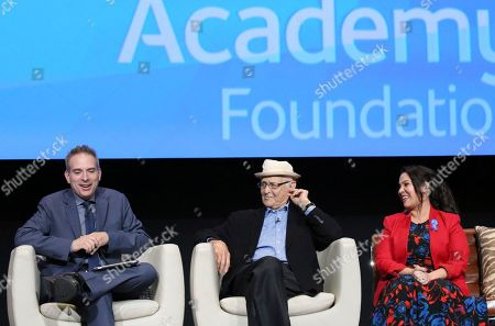 """Michael Schneider, executive producer and creator Norman Lear and co-creator and executive producer Gloria Calderon Kellett seen at """"The Power of TV: A Conversation with Norman Lear and Netflix original series 'One Day at a Time' """" ATAS Panel at the Wolf Theater at Saban Media Center, in Los Angeles"""