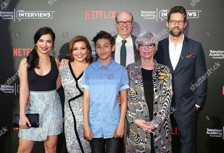 """Stock Photo of Isabella Gomez, Justina Machado, Marcel Ruiz, Stephen Tobolowsky, Rita Moreno and Todd Grinnell seen at """"The Power of TV: A Conversation with Norman Lear and Netflix original series 'One Day at a Time' """" ATAS Panel at the Wolf Theater at Saban Media Center, in Los Angeles"""