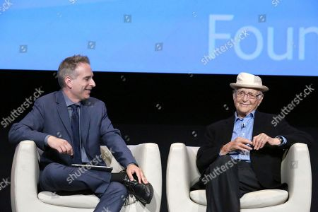 """Michael Schneider and executive producer and creator Norman Lear seen at """"The Power of TV: A Conversation with Norman Lear and Netflix original series 'One Day at a Time' """" ATAS Panel at the Wolf Theater at Saban Media Center, in Los Angeles"""