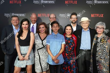 """Stock Picture of Netflix Chief Content Officer Ted Sarandos, Isabella Gomez, co-creator and executive producer Mike Royce, Justina Machado, Stephen Tobolowsky, Marcel Ruiz, co-creator and executive producer Gloria Calderon Kellett, Todd Grinnell, creator and executive producer Norman Lear and Rita Moreno seen at """"The Power of TV: A Conversation with Norman Lear and Netflix original series 'One Day at a Time' """" ATAS Panel at the Wolf Theater at Saban Media Center, in Los Angeles"""