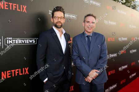 """Todd Grinnell and Michael Schneider seen at """"The Power of TV: A Conversation with Norman Lear and Netflix original series 'One Day at a Time' """" ATAS Panel at the Wolf Theater at Saban Media Center, in Los Angeles"""