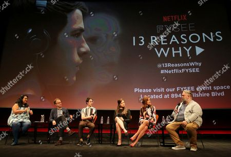 Jenelle Riley, director Tom McCarthy, Dylan Minette, Katherine Langford, Kate Walsh and executive producer Brian Yorkey seen at '13 Reasons Why' Netflix FYSee exhibit space with a Q&A at the Samuel Goldwyn Theater, in Los Angeles