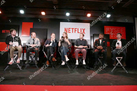 Kyle Dixon, Michael Stein, Elliott Wheeler, Zach Cowie, Duncan Thum, Kris Bowers and James S. Levine at 'The Music of Netflix' panel Q&A at Netflix FYSee exhibit space, in Los Angeles, CA