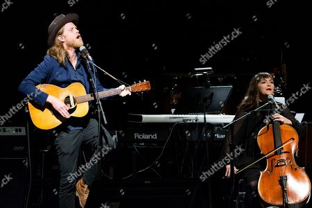 Wesley Schultz, left, and Neyla Pekarek perform at The 13th Annual MusiCares MAP Fund Benefit Concert at The Playstation Theater, in New York