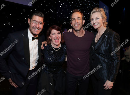 Tim Davis, Kate Flannery, Bryan Callen and Jane Lynch seen at 16th Annual Comedy for a Cure at The Globe Theatre at Universal Studios Hollywood, in Los Angeles, CA