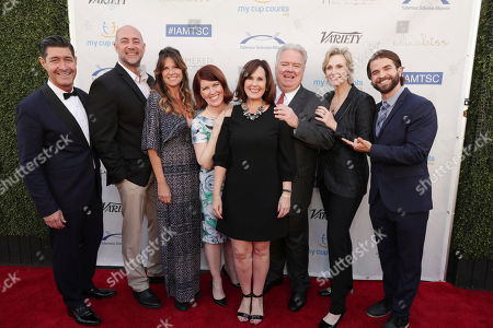 Tim Davis, Alex Skuby, Mo Collins, Kate Flannery, President & Chief Executive Officer-TS Alliance, Kari Luther Rosbeck, honoree Jim O'Heir, Jane Lynch and Shane Brady seen at 16th Annual Comedy for a Cure at The Globe Theatre at Universal Studios Hollywood, in Los Angeles, CA
