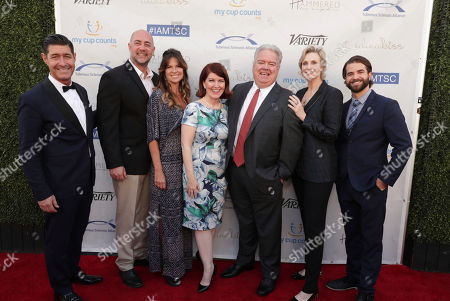 Tim Davis, Alex Skuby, Mo Collins, Kate Flannery, honoree Jim O'Heir, Jane Lynch and Shane Brady seen at 16th Annual Comedy for a Cure at The Globe Theatre at Universal Studios Hollywood, in Los Angeles, CA