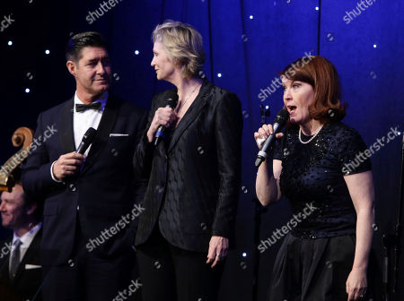 Tim Davis, Jane Lynch and Kate Flannery seen at 16th Annual Comedy for a Cure at The Globe Theatre at Universal Studios Hollywood, in Los Angeles, CA