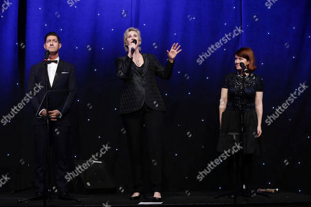Stock Picture of Tim Davis, Jane Lynch and Kate Flannery seen at 16th Annual Comedy for a Cure at The Globe Theatre at Universal Studios Hollywood, in Los Angeles, CA