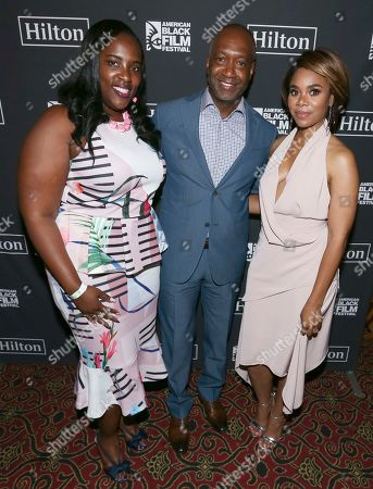 Andrea Richardson, Jeff Friday and Regina Hall attend Girls Trip screening during the 2017 American Black Film Festival at Olympia Theater, in Miami Beach, Florida