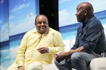 Roland Martin and John Singleton are seen at the Business of Entertainment with John Singleton during the 2017 American Black Film Festival at New World Center, in Miami Beach, Florida