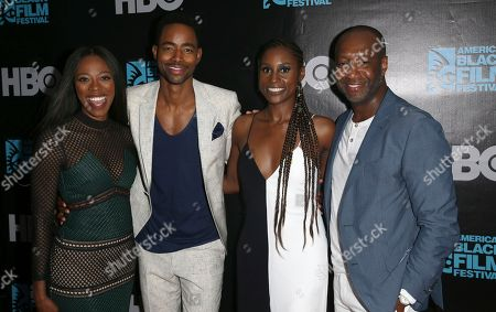 Yvonne Orji, Jay Ellis,Issa Rae and Jeff Friday attend Insecure Season 2 premiere during the 2017 American Black Film Festival at Colony Theater, in Miami Beach, Florida