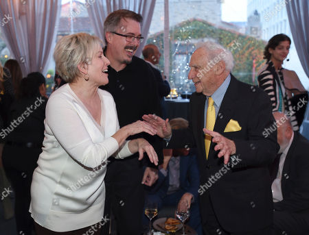 Holly Rice, from left, Vince Gilligan and Mel Brooks attend Backstage at the Geffen Gala, in Los Angeles
