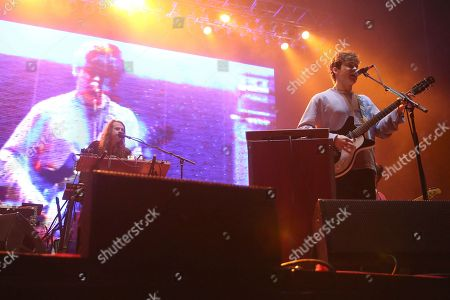 From left, artist Benjamin Goldwasser and Andrew VanWyngarden of MGMT perform on the Bud Light Stage of the 2017 Beale Street Music Festival on in Memphis, Tenn