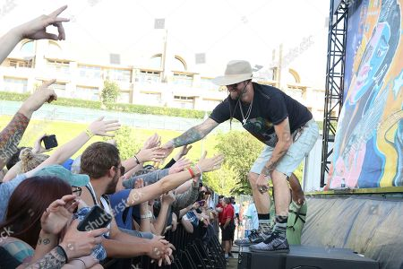 Artist Ryan Meyer of Highly Suspect greets fans from the River Stage of the 2017 Beale Street Music Festival on in Memphis, Tenn