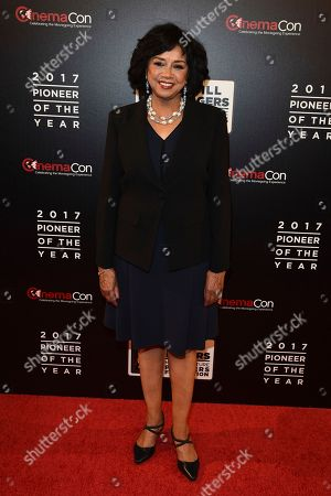 """Cheryl Boone Isaacs attends the 2017 Will Rogers """"Pioneer of the Year"""" Dinner Honoring Cheryl Boone Isaacs during CinemaCon at The Colosseum at Caesars Palace, in Las Vegas"""