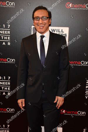 """Aasif Mandvi attends the 2017 Will Rogers """"Pioneer of the Year"""" Dinner Honoring Cheryl Boone Isaacs during CinemaCon at The Colosseum at Caesars Palace, in Las Vegas"""