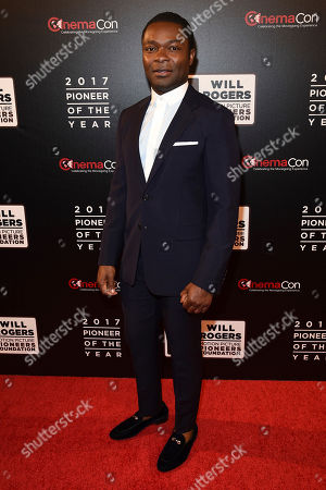 """David Oyelowo, attends the 2017 Will Rogers """"Pioneer of the Year"""" Dinner Honoring Cheryl Boone Isaacs during CinemaCon at The Colosseum at Caesars Palace, in Las Vegas"""