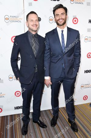 Jason Landau, left, and Cheyenne Jackson attend the 2017 Impact Awards held at the Beverly Wilshire Hotel, in Beverly Hills, Calif