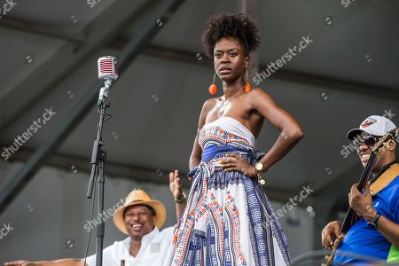 Kermit Ruffins & the Barbeque Swingers performs at the New Orleans Jazz and Heritage Festival, in New Orleans
