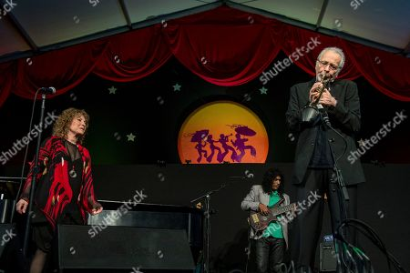 Lani Hall, left, and Herb Alpert perform at the New Orleans Jazz and Heritage Festival, in New Orleans